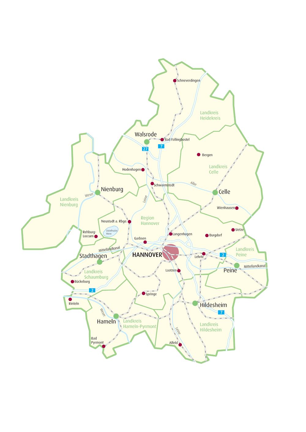 Hameln Karte.Gebiet Karte Netzwerk Erweiterter Wirtschaftsraum Hannover
